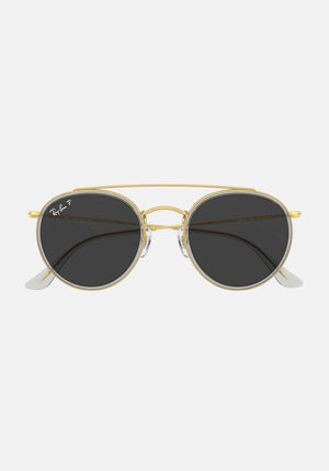 Round Double Bridge Sunglasses Legend Gold