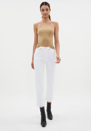 Hi Rise Ankle Crop Jean White