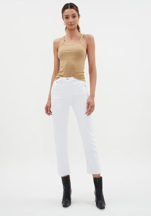 Hi Rise Ankle Crop Jean White - Re/Done - Tuchuzy