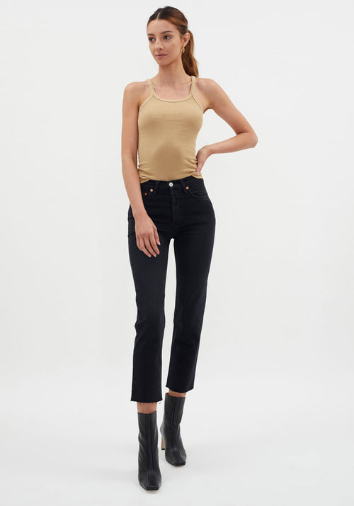 High Rise Ankle Crop Faded Black