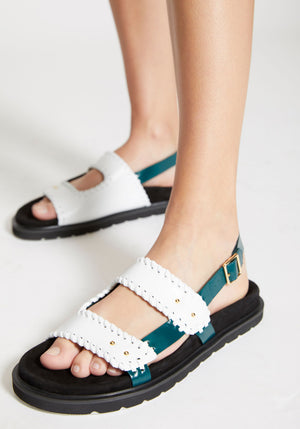 Turnover Mold Sandals White/Deep Green