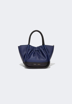 Small Ruched Tote Black/Blue