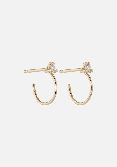 Element Diamond Hoops Gold