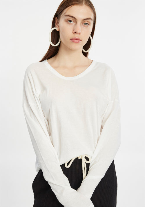 SCOOP HTG BOXY L/S WHITE