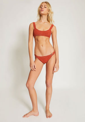 Essential Crop Bikini Top Terracotta