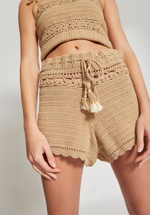 Ila High Waisted Shorts Sand