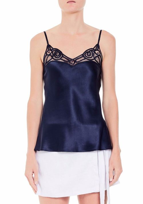 Silk Camisole With Ornate Lace