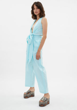 Cadimi Wrap Top Sky Blue
