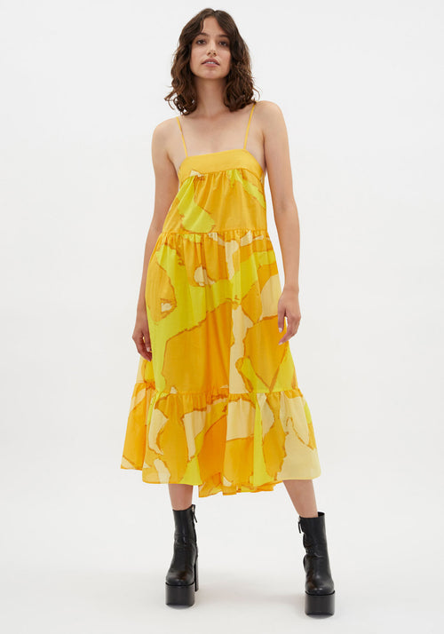 Pumpa Dress Yellow Abstract Summer Print
