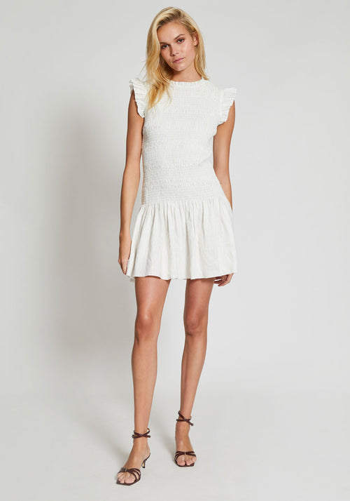 Emile Ruched Mini Dress Ivory