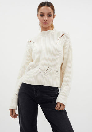 Franca Pointelle Sweater Ivory