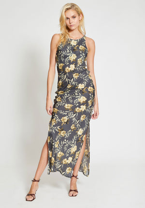 Lita Bias Slip Dress Charcoal Lita Print