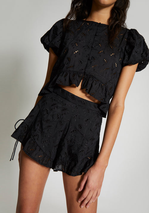 Elodie Ruffle Short Black