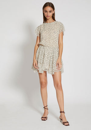 Isabella Ruffle Mini Dress Bone Polka Dot
