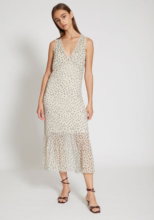 Isabella Slip Dress Bone Polka Dot