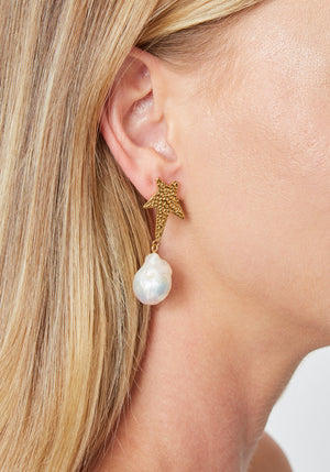 Siren Star Baroque Pearl Earrings Gold