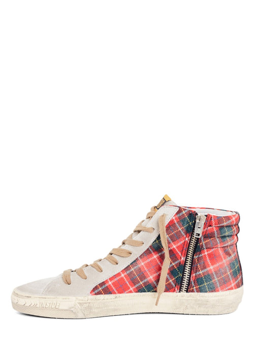 SNEAKERS SLIDE RED TARTAN WOOL/ICE STAR
