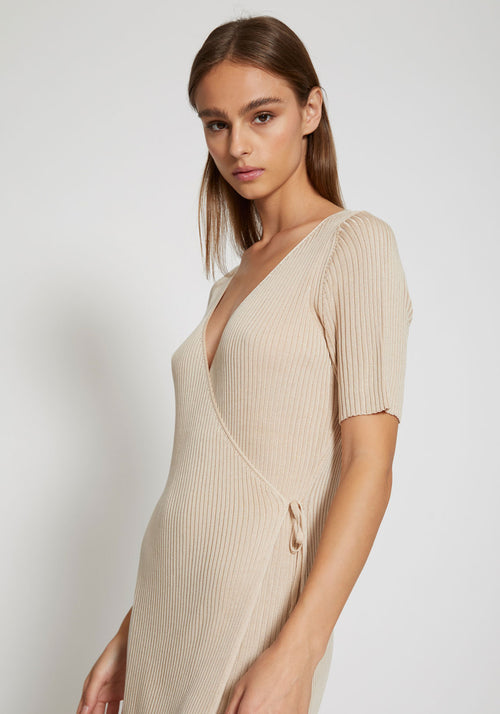 Anais Wrap Knit Dress Sand