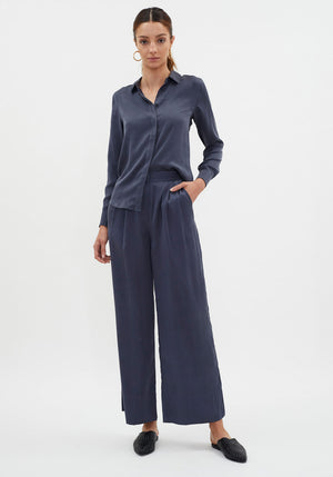 Bleu Silk Shirt Navy