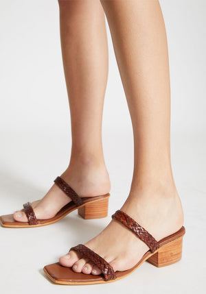 Camille Woven Heel Antique Tan