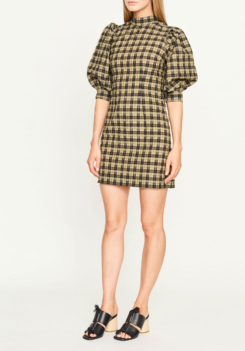 Seersucker Check Mini Dress Aloe Ganni Tuchuzy