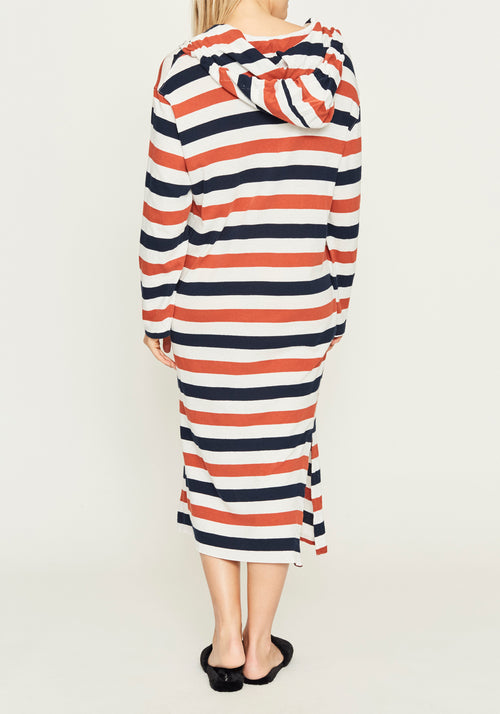 Stripe Hooded Long Sleeve Dress