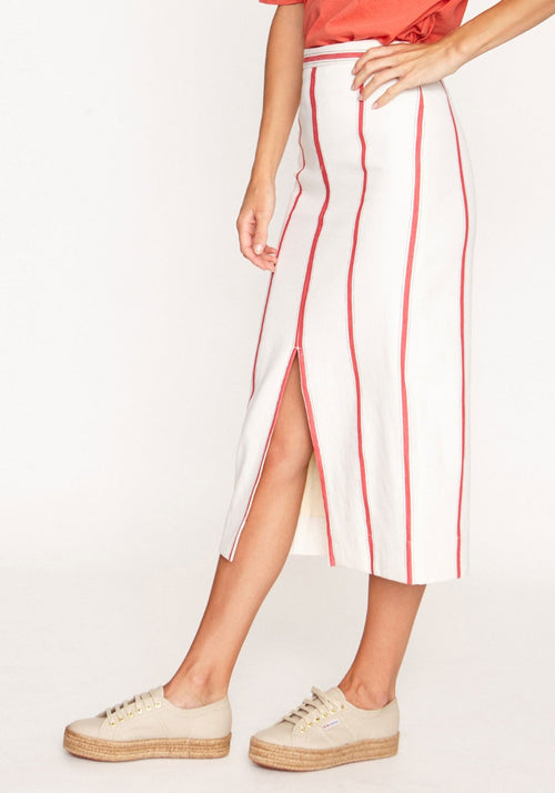 Stripe Split Detail Skirt