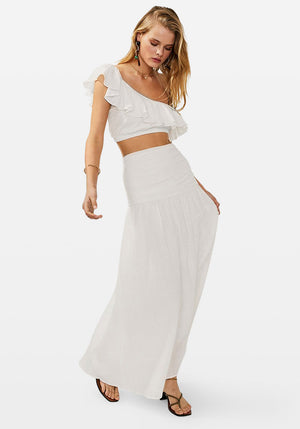Alva Gathered Maxi Skirt Ivory