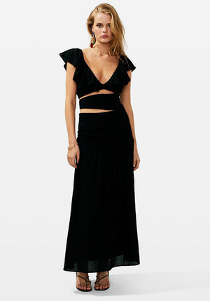 Alva Rouched Cut Out Maxi Dress Black