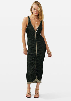 Freya Gathered Rib Midi Dress