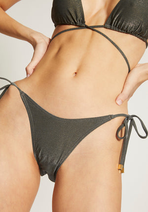 Gigi String Bottoms Slate Metallic
