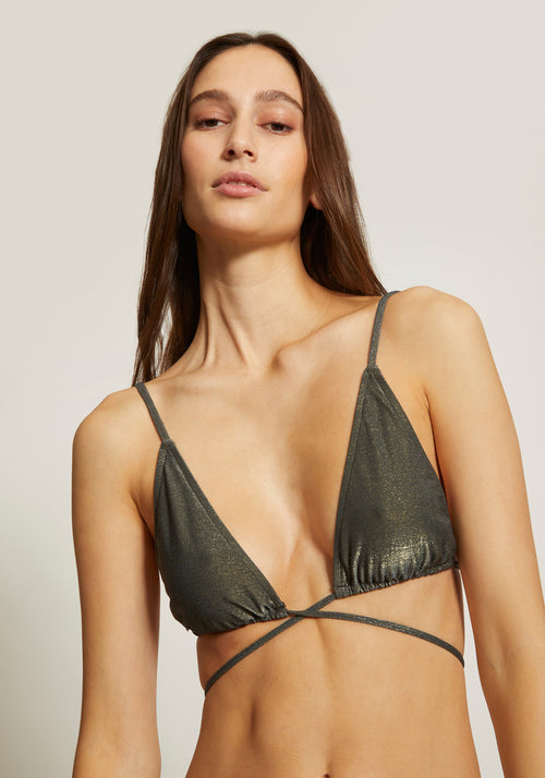 Gigi String Tie Top Slate Metallic