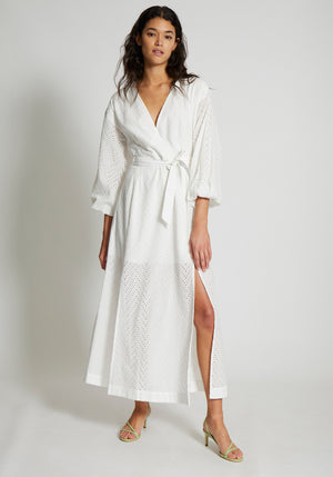 Goldie Wrap Maxi Tie Dress Ivory