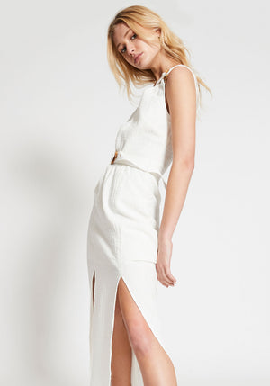 Kaia Bamboo Ring Asymmetrical Dress White