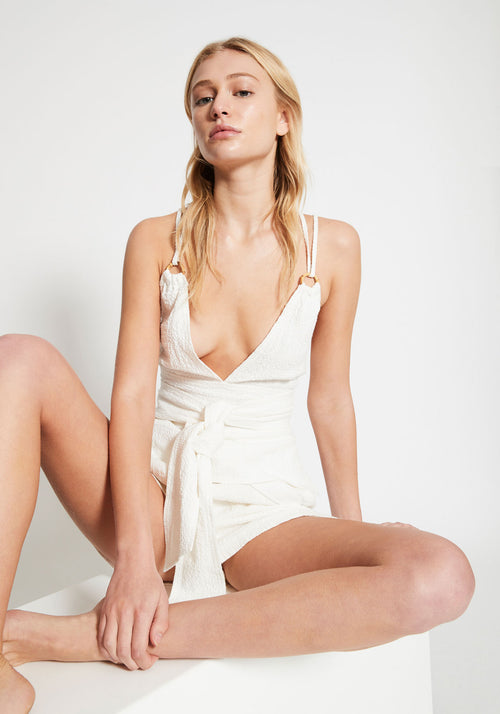 Kaia Bamboo Ring Backless Top White