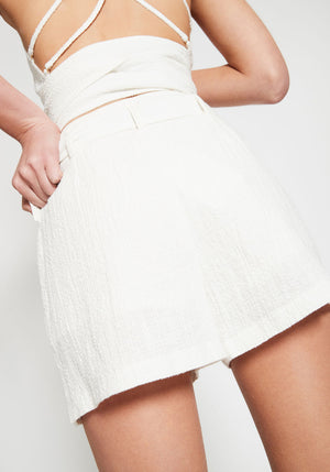 Kaia Bamboo Ring Shorts White
