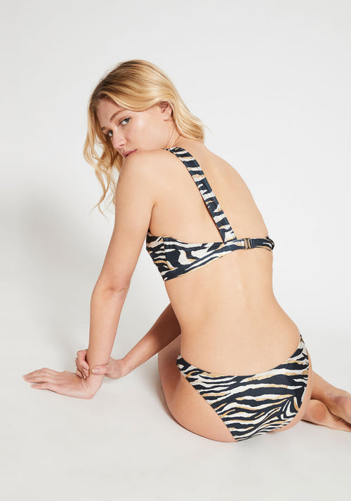 Leila One Shoulder Bikini Top Zebra Multi