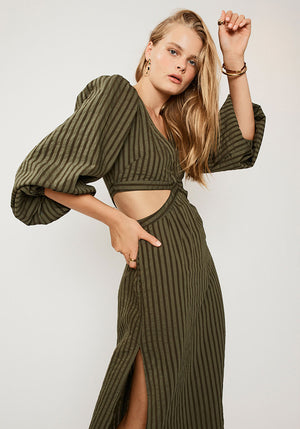 Queenie Cut Out Dress Olive Green