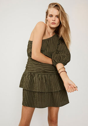 Queenie One Shoulder Dress Olive Green