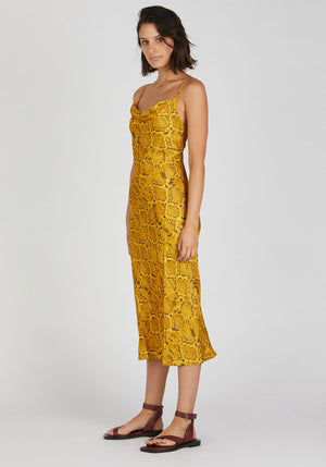 Rae Cowl Neck Slip Dress Yellow Snake Print