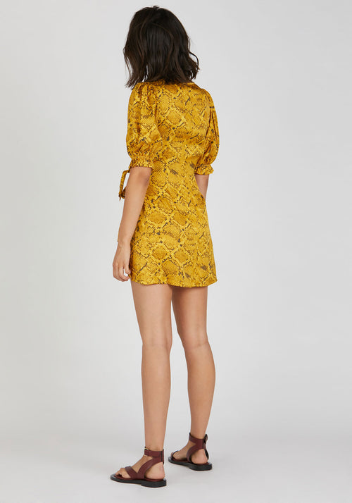 Rae Mini Wrap Dress Yellow Snake Print