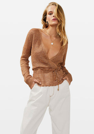 Simone Knit Sweater Bronze Metallic