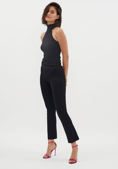 Alloy Rib Sleeveless Turtleneck Black