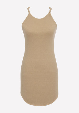 Shadow Linen Jersey Twist Mini Dress Beach
