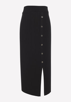 Wave Rib Button-Up Midi Skirt Black