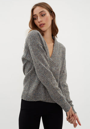 Eco Tweedy Sweater Deep V-neck Pullover Heather Grey