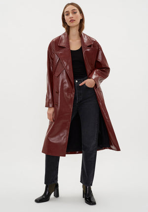 Faux Patent Leather Cocoon Coat Rusty Brown