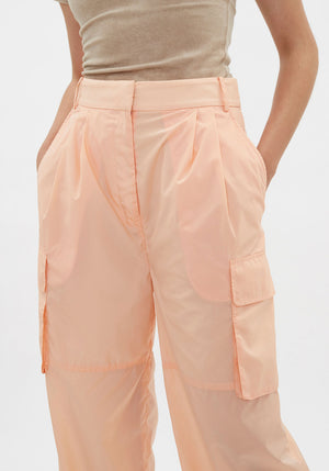 Runway | Long Pleated Cargo Pant Orange Sherbet