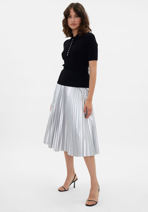 Metallic Pleated Knee Length Skirt Silver