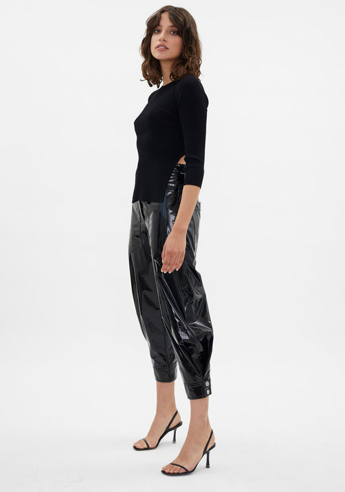 Runway | Patent Sculpted Ankle Length Pant Black